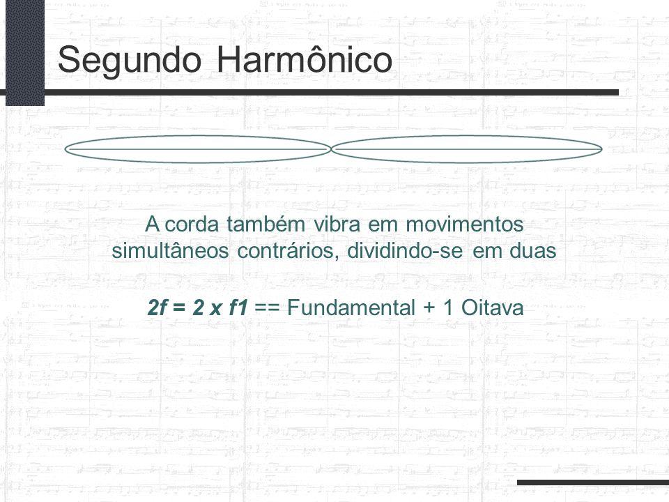 Segundo Harmônico A corda também vibra em movimentos simultâneos contrários, dividindo-se em duas 2f = 2 x f1 == Fundamental + 1 Oitava