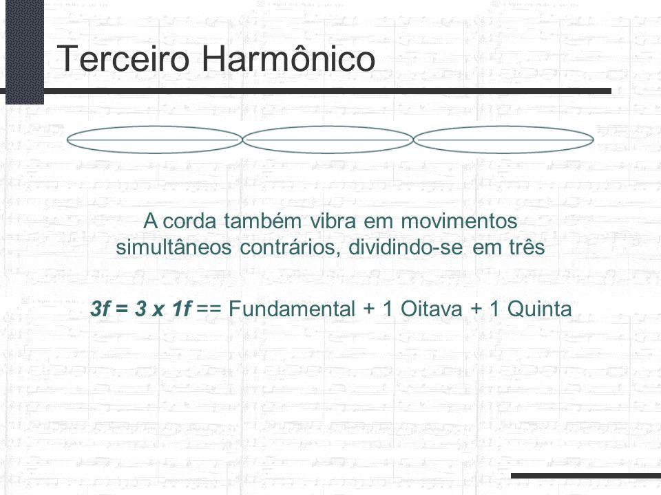 Terceiro Harmônico 3f = 3 x 1f == Fundamental + 1 Oitava + 1 Quinta A corda também vibra em movimentos simultâneos contrários, dividindo-se em três