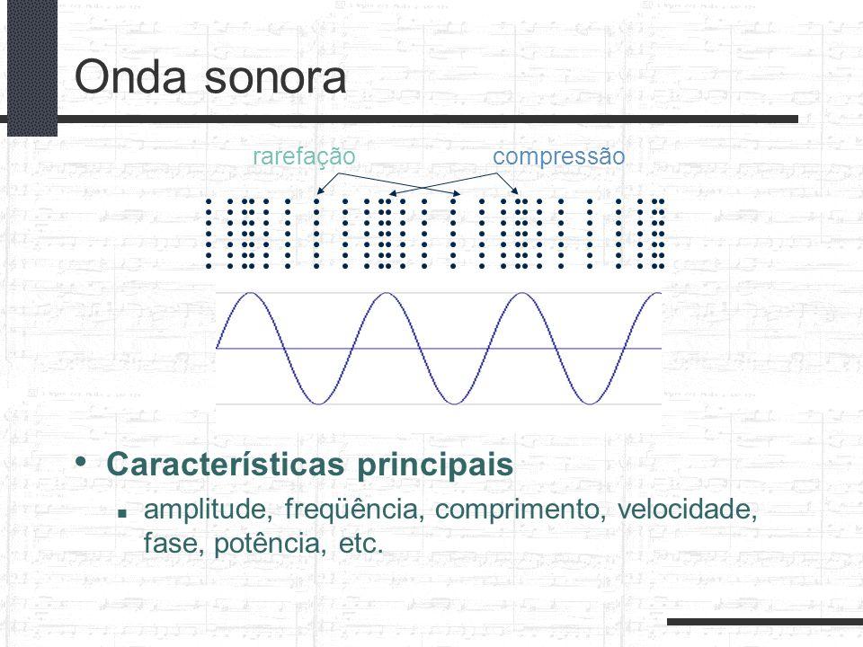 rarefaçãocompressão Onda sonora Características principais amplitude, freqüência, comprimento, velocidade, fase, potência, etc.