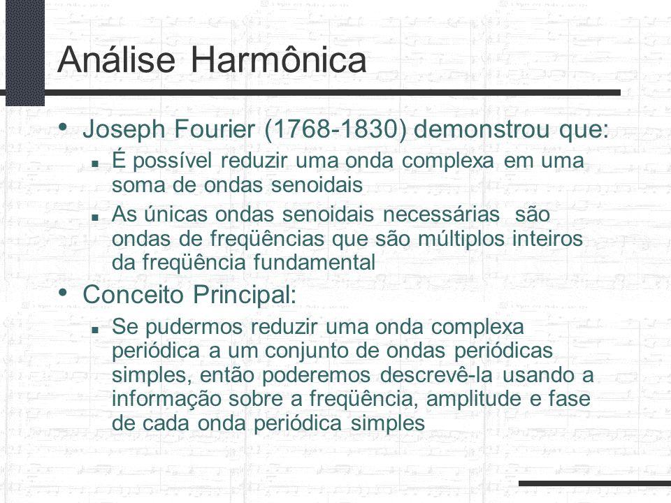 Análise Harmônica Joseph Fourier (1768-1830) demonstrou que: É possível reduzir uma onda complexa em uma soma de ondas senoidais As únicas ondas senoi