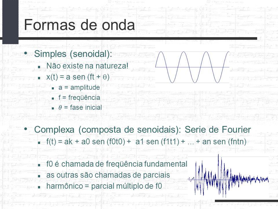 Formas de onda Simples (senoidal): Não existe na natureza! x(t) = a sen (ft + ) a = amplitude f = freqüência = fase inicial Complexa (composta de seno