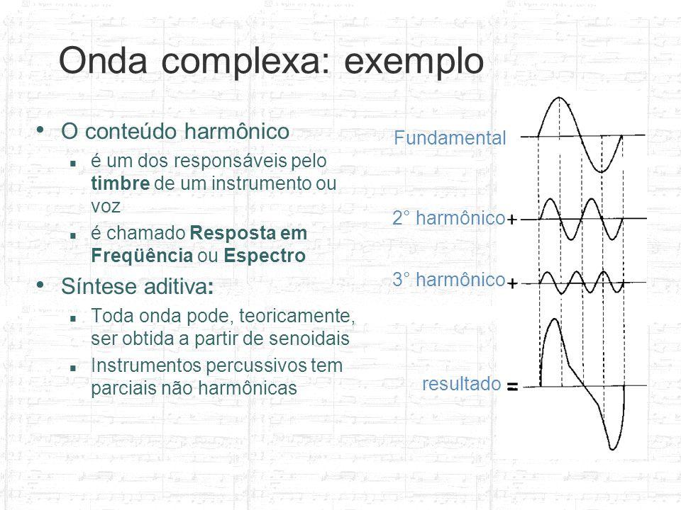 Fundamental 2° harmônico 3° harmônico resultado Onda complexa: exemplo O conteúdo harmônico é um dos responsáveis pelo timbre de um instrumento ou voz