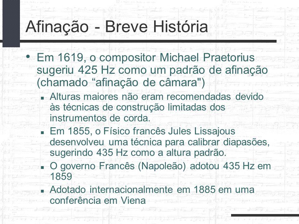 Afinação - Breve História Em 1619, o compositor Michael Praetorius sugeriu 425 Hz como um padrão de afinação (chamado afinação de câmara