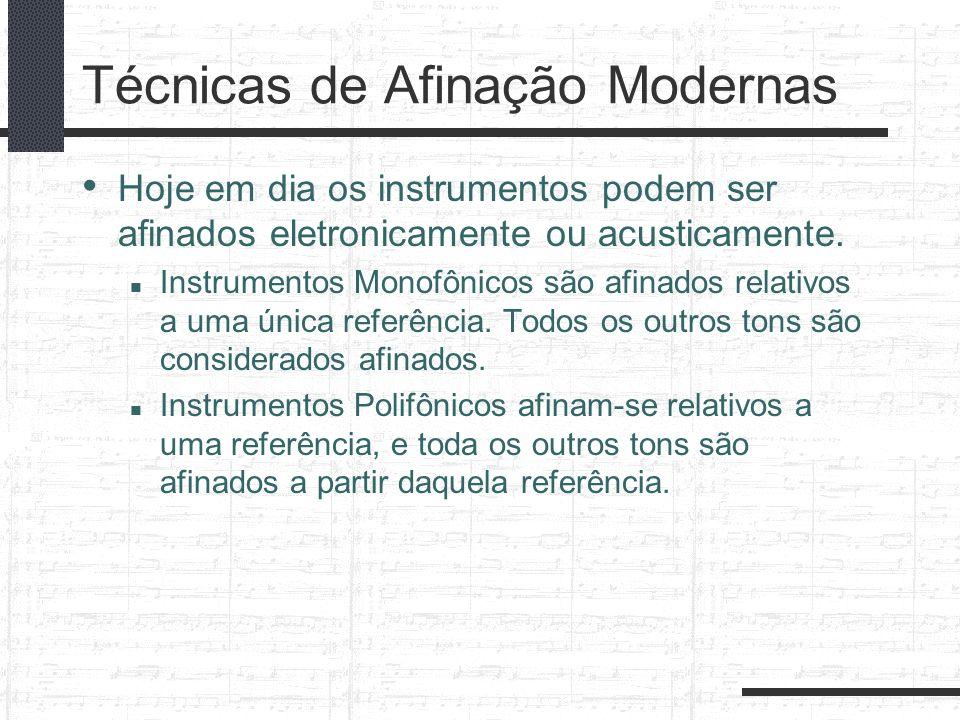 Técnicas de Afinação Modernas Hoje em dia os instrumentos podem ser afinados eletronicamente ou acusticamente. Instrumentos Monofônicos são afinados r