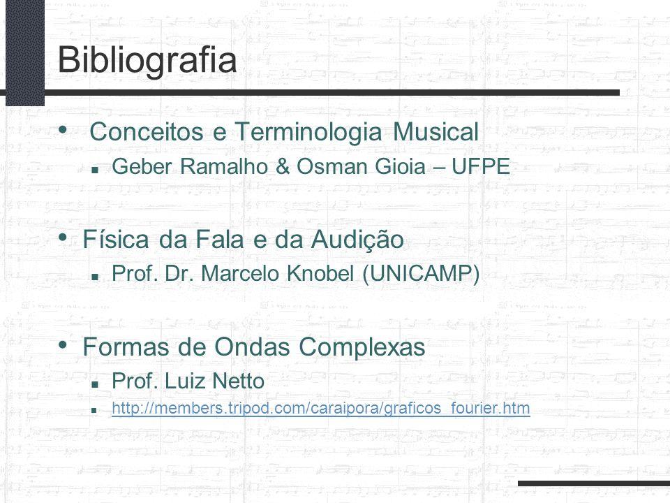 Bibliografia Conceitos e Terminologia Musical Geber Ramalho & Osman Gioia – UFPE Física da Fala e da Audição Prof. Dr. Marcelo Knobel (UNICAMP) Formas