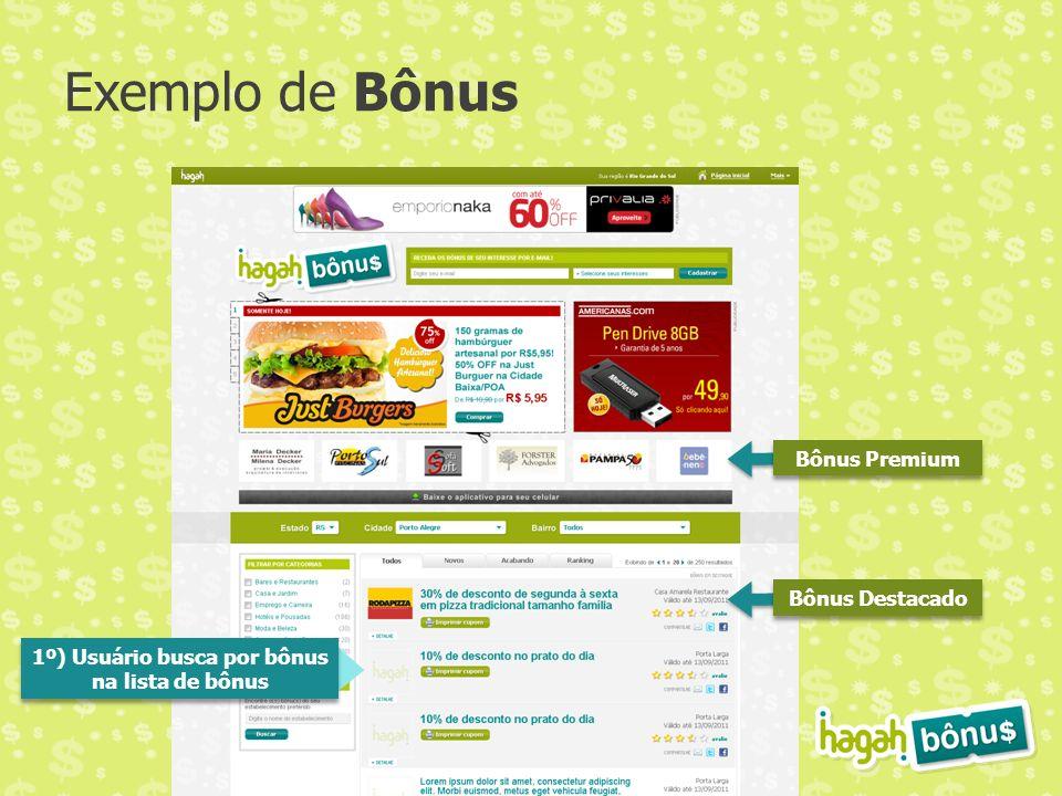 Exemplo de Bônus Bônus Premium Bônus Destacado 1º) Usuário busca por bônus na lista de bônus 1º) Usuário busca por bônus na lista de bônus