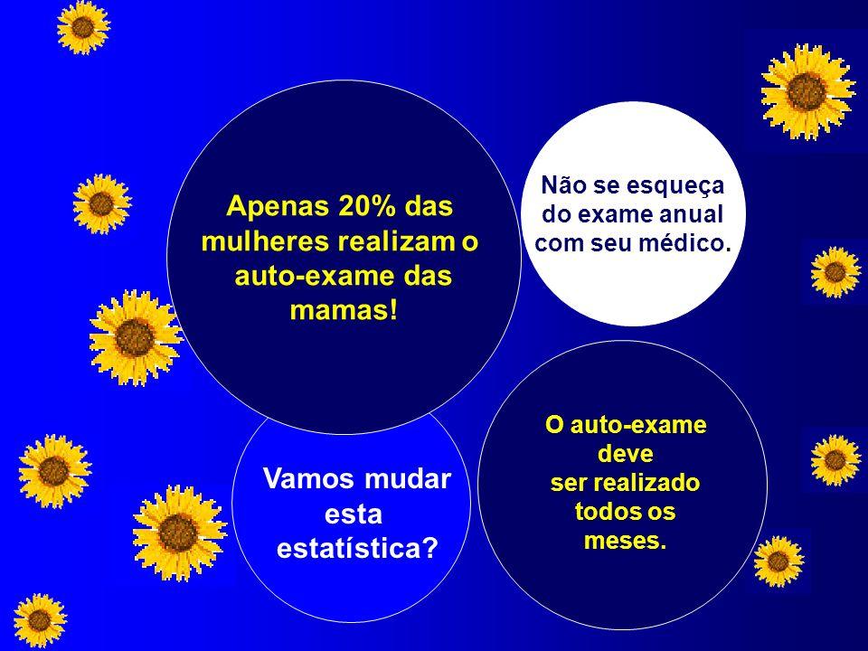 Apenas 20% das mulheres realizam o auto-exame das mamas! O auto-exame deve ser realizado todos os meses. Não se esqueça do exame anual com seu médico.