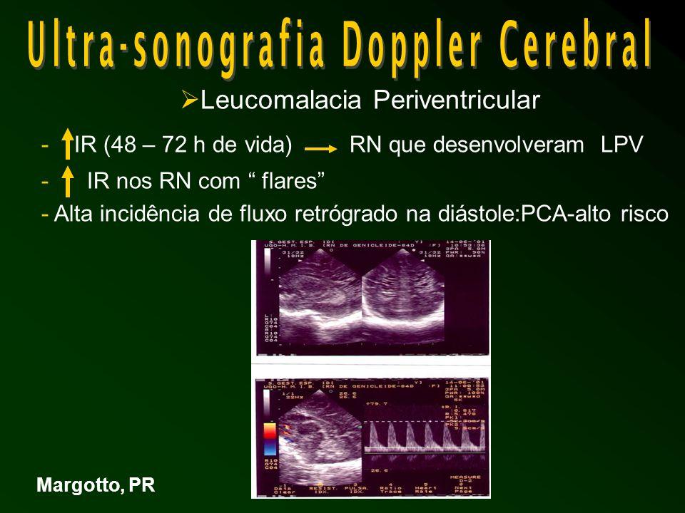 Leucomalacia Periventricular - IR (48 – 72 h de vida)RN que desenvolveram LPV - IR nos RN com flares - Alta incidência de fluxo retrógrado na diástole:PCA-alto risco Margotto, PR