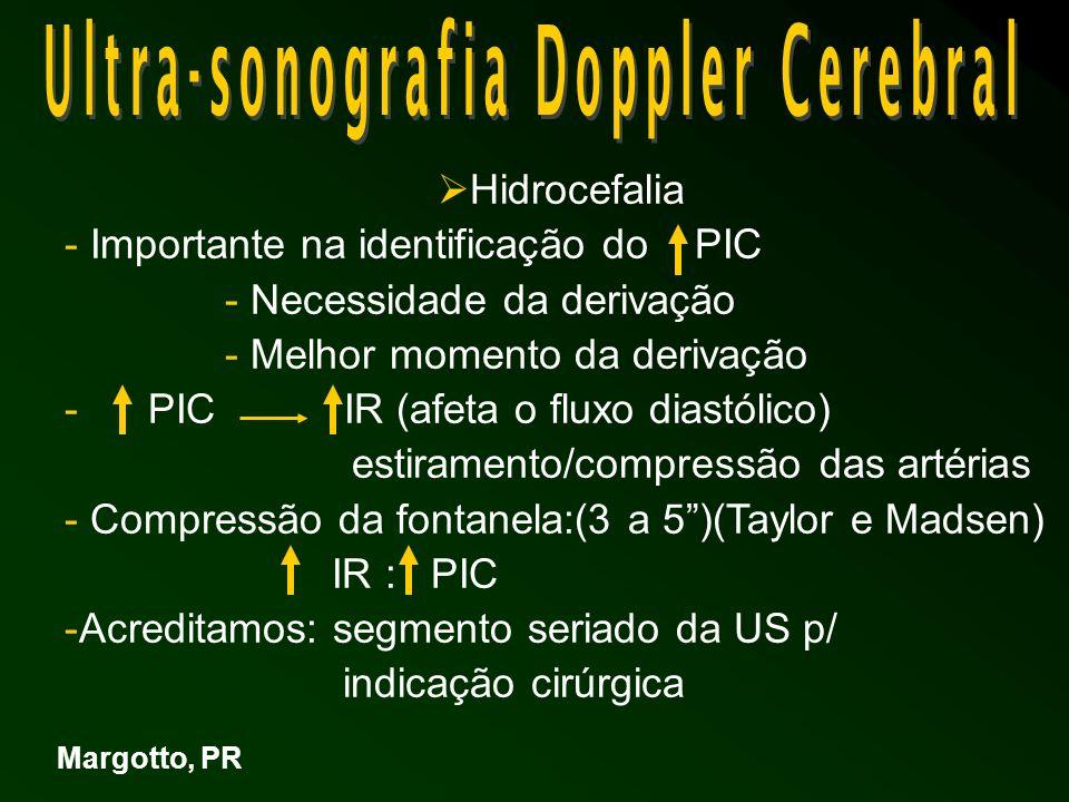 Hidrocefalia - Importante na identificação do PIC - Necessidade da derivação - Melhor momento da derivação - PIC IR (afeta o fluxo diastólico) estiramento/compressão das artérias - Compressão da fontanela:(3 a 5)(Taylor e Madsen) IR : PIC -Acreditamos: segmento seriado da US p/ indicação cirúrgica Margotto, PR