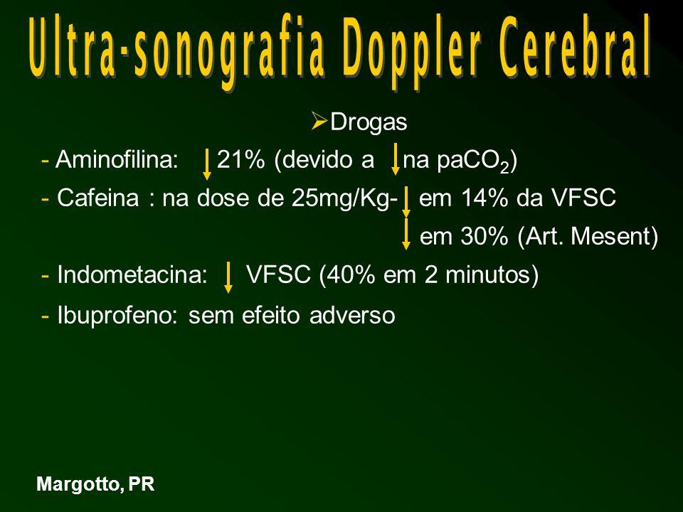 Drogas - Aminofilina: 21% (devido a na paCO 2 ) - Cafeina : na dose de 25mg/Kg- em 14% da VFSC em 30% (Art.