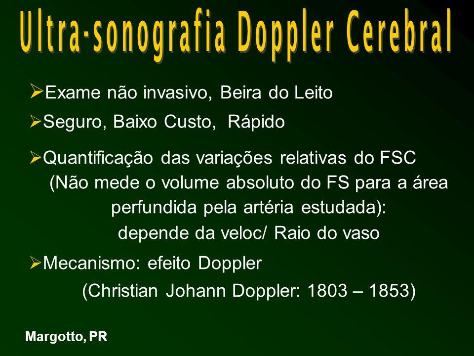 Efeito Doppler: A frequência das ondas sonoras refletidas, por um objeto (hemácias) em movimento é desviada em quantidade proporcional a velocidade deste objeto Sinal Doppler depende da: Velocidade das hemácias Ângulo de insonação; próximo de 0 Velocidade do US no tecido cerebral (1540 / s 2 ) Margotto, PR