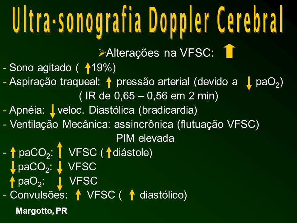 Aplicações Clínicas: Encefalopatia hipóxico – isquêmica IR: da velocidade diastólica final da vasodilatação ( hipoxia, acidose, paCO 2 ) perfusão de luxúria Rotura de capilares MG e do plexo coróide – HIV ( o IR alto: edema cerebral, PCA, isquemia miocardica) devido a da pressão perfusão cerebral Prognóstico de IR : predicção prognóstica : 86% IR < 0,60: severo atraso ( 3 a 32 meses) alterações QI (4 – 12 anos) Margotto, PR