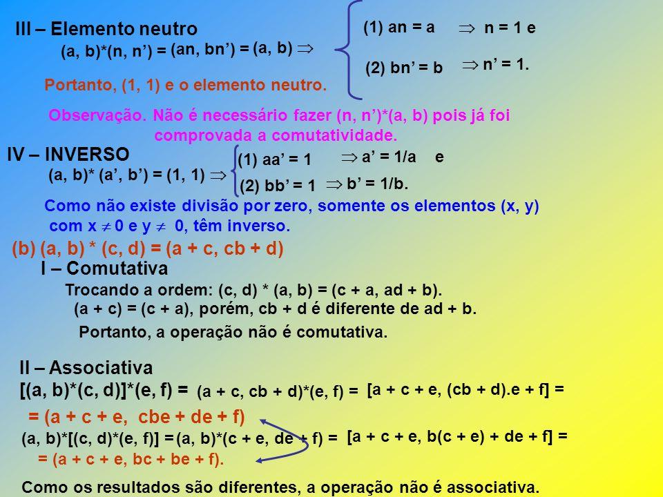 III – Elemento neutro (x, y) Elemento neutro à esquerda: (x, y)*(a, b) = (x + a, ya + b) = (a, b) x = 0 e y = 0.