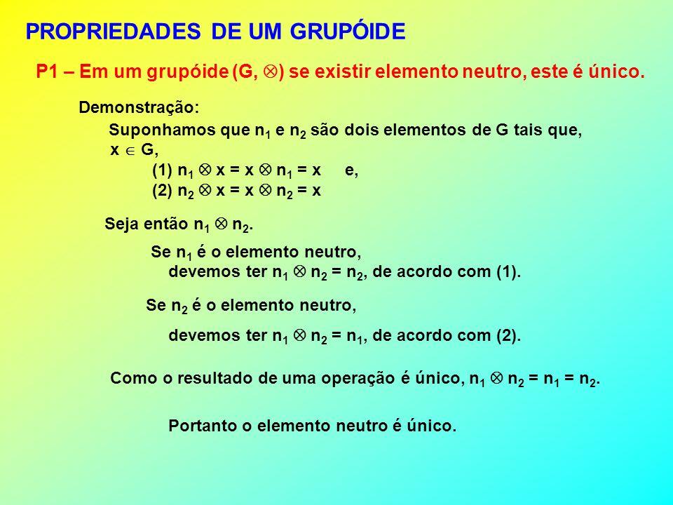 PROPRIEDADES DE UM GRUPÓIDE P1 – Em um grupóide (G, ) se existir elemento neutro, este é único. Como o resultado de uma operação é único, n 1 n 2 = n