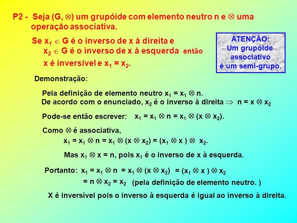 P2 - Seja (G, ) um grupóide com elemento neutro n e uma operação associativa. então x é inversível e x 1 = x 2. Se x 1 G é o inverso de x à direita e
