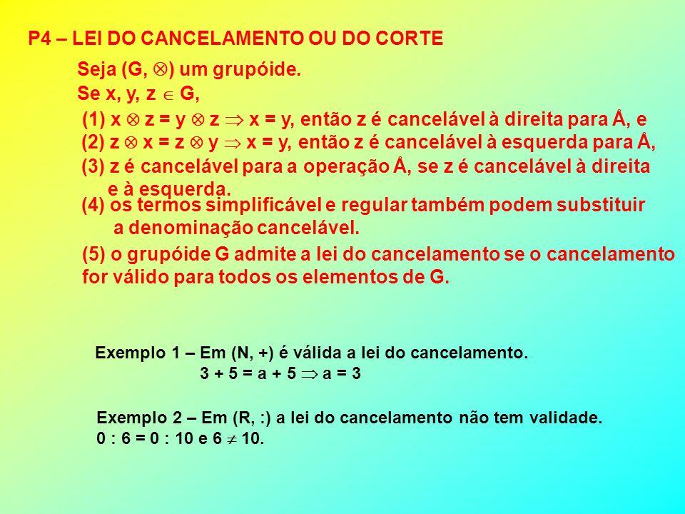 (5) o grupóide G admite a lei do cancelamento se o cancelamento for válido para todos os elementos de G. P4 – LEI DO CANCELAMENTO OU DO CORTE Seja (G,
