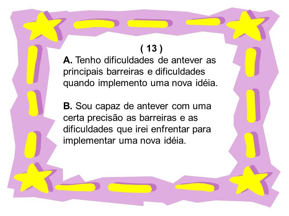 ( 13 ) A. Tenho dificuldades de antever as principais barreiras e dificuldades quando implemento uma nova idéia. B. Sou capaz de antever com uma certa