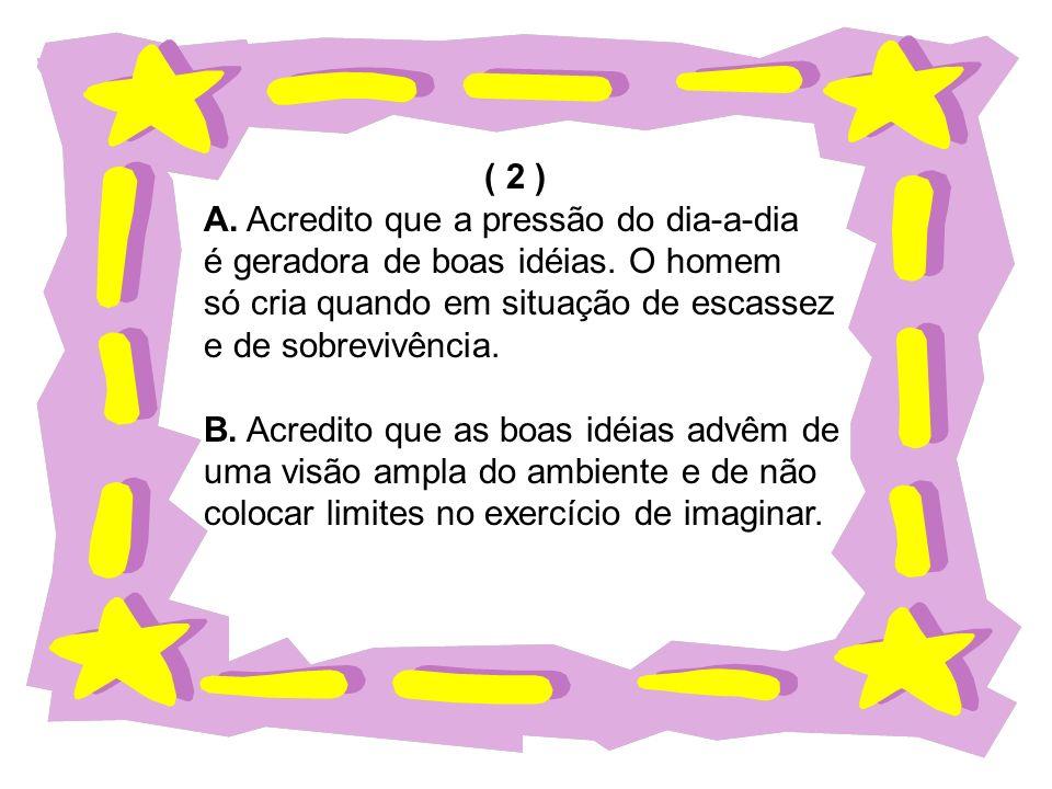 ( 2 ) A. Acredito que a pressão do dia-a-dia é geradora de boas idéias. O homem só cria quando em situação de escassez e de sobrevivência. B. Acredito