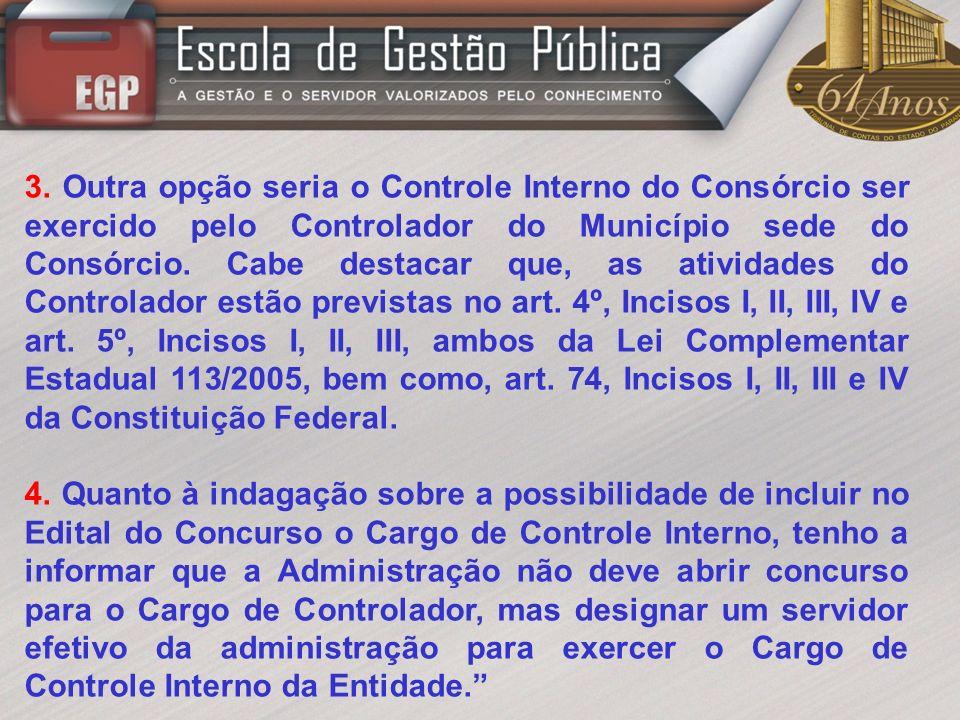 1.Regras para Admissão de Pessoal Responsável pelo Controle Interno 1.1.