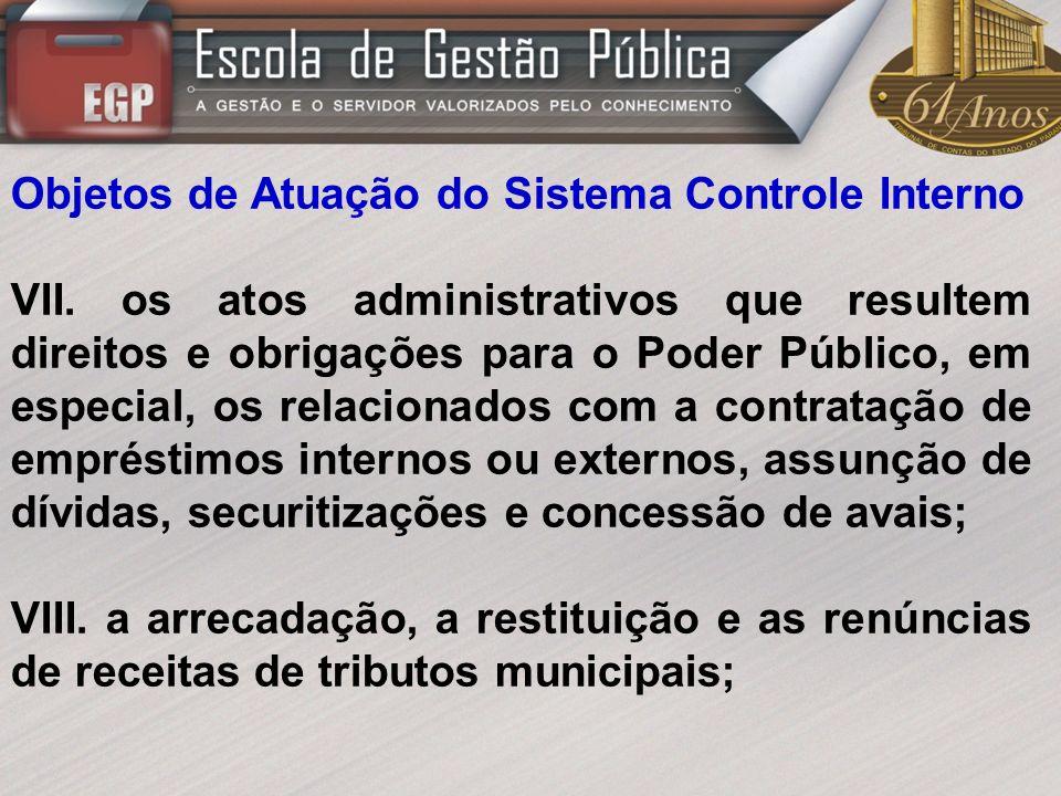 Objetos de Atuação do Sistema Controle Interno IX.