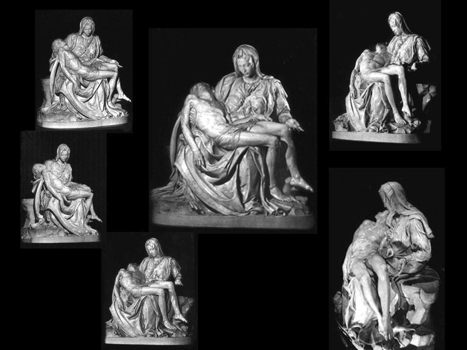 Miguel Ângelo (com apenas 23 anos de idade) ficou tão apaixonado por esta sua primeira grande obra de escultura, que deixou gravado o seu próprio nome