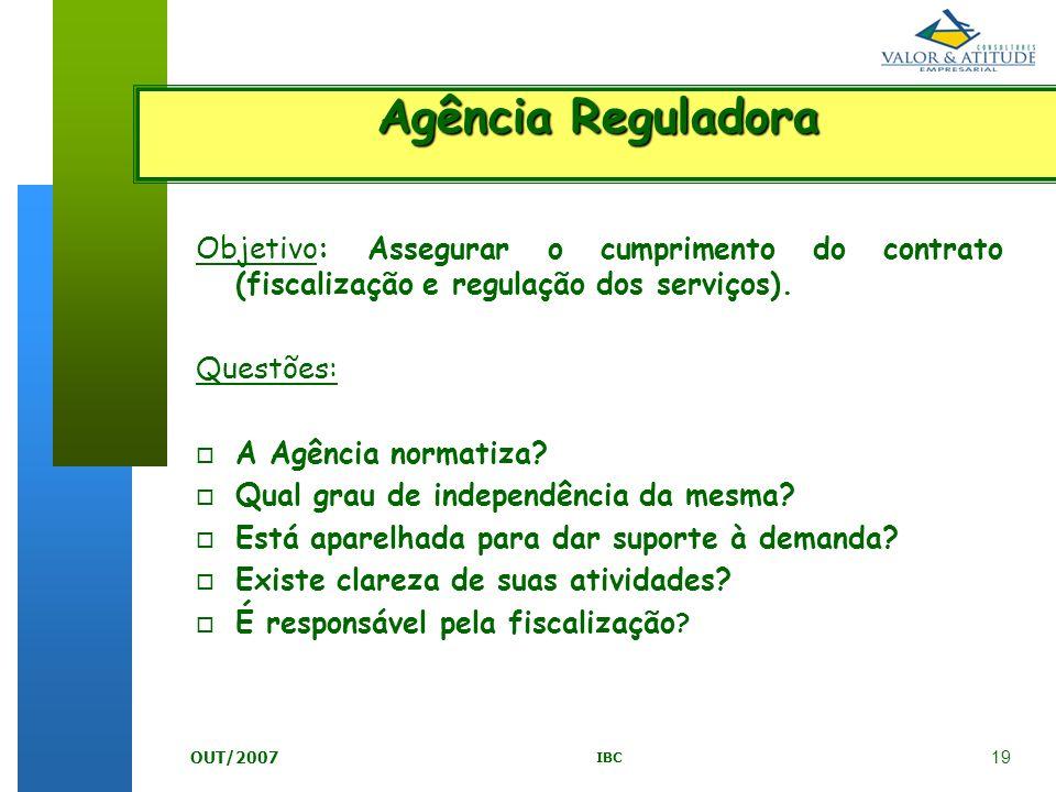 19 IBC OUT/2007 Objetivo: Assegurar o cumprimento do contrato (fiscalização e regulação dos serviços). Questões: o A Agência normatiza? o Qual grau de