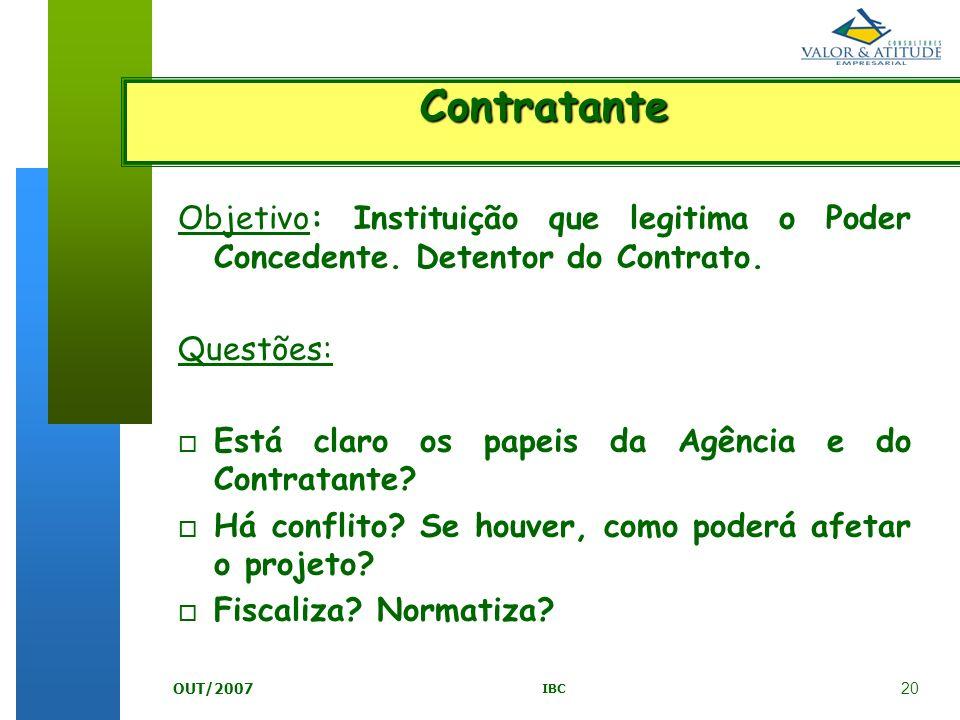 20 IBC OUT/2007 Objetivo: Instituição que legitima o Poder Concedente. Detentor do Contrato. Questões: o Está claro os papeis da Agência e do Contrata