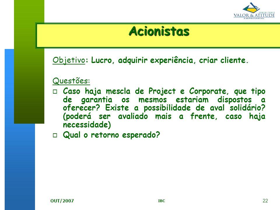 22 IBC OUT/2007 Objetivo: Lucro, adquirir experiência, criar cliente. Questões: o Caso haja mescla de Project e Corporate, que tipo de garantia os mes