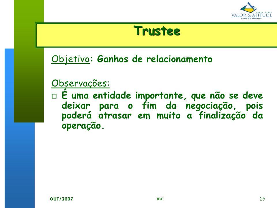 25 IBC OUT/2007 Objetivo: Ganhos de relacionamento Observações: o É uma entidade importante, que não se deve deixar para o fim da negociação, pois pod