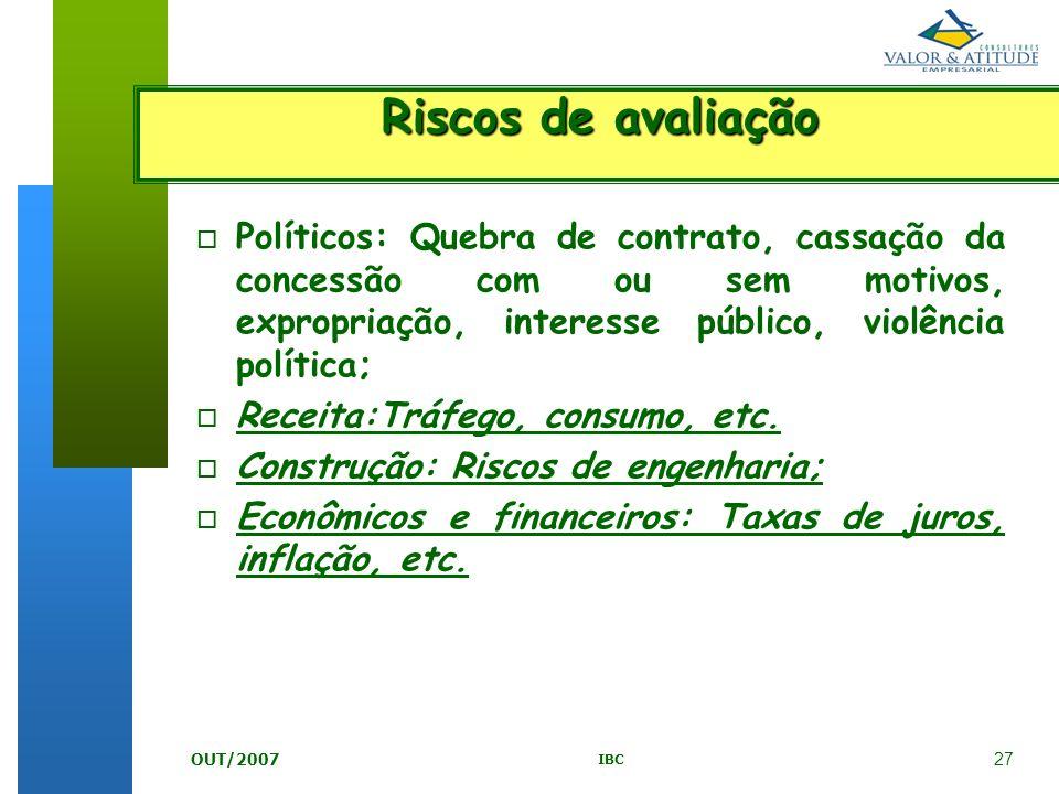 27 IBC OUT/2007 o Políticos: Quebra de contrato, cassação da concessão com ou sem motivos, expropriação, interesse público, violência política; o Rece