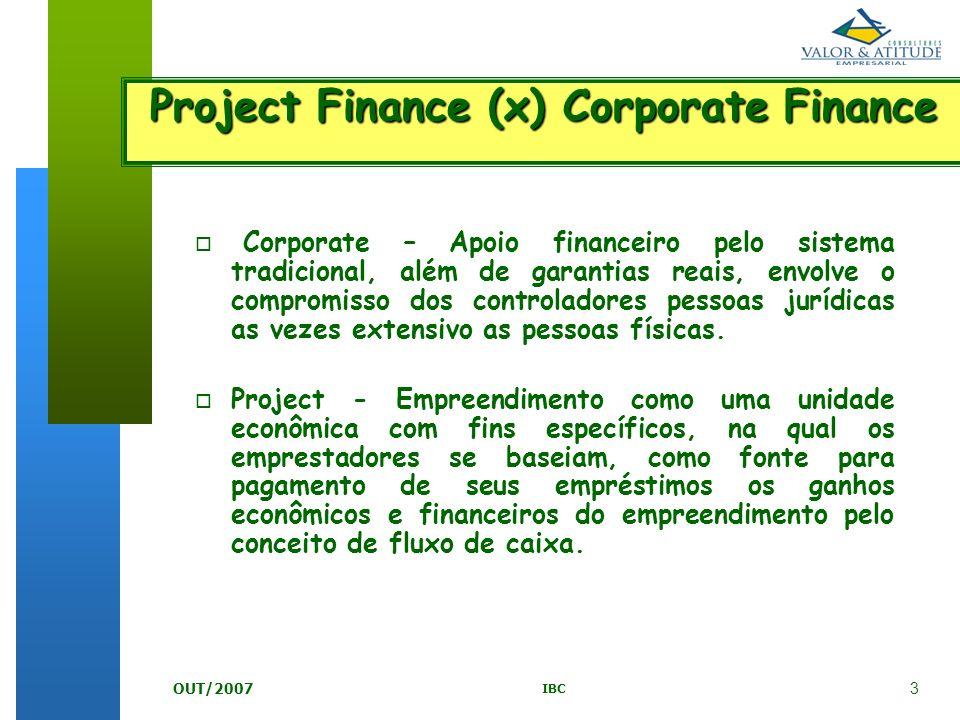 3 IBC OUT/2007 Project Finance (x) Corporate Finance o o Corporate – Apoio financeiro pelo sistema tradicional, além de garantias reais, envolve o com