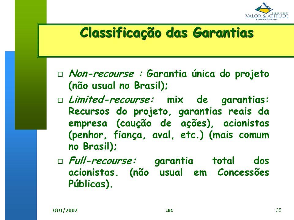 35 IBC OUT/2007 o Non-recourse : Garantia única do projeto (não usual no Brasil); o Limited-recourse: mix de garantias: Recursos do projeto, garantias