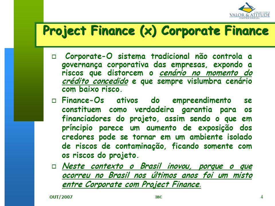 4 IBC OUT/2007 o o Corporate-O sistema tradicional não controla a governança corporativa das empresas, expondo a riscos que distorcem o cenário no mom