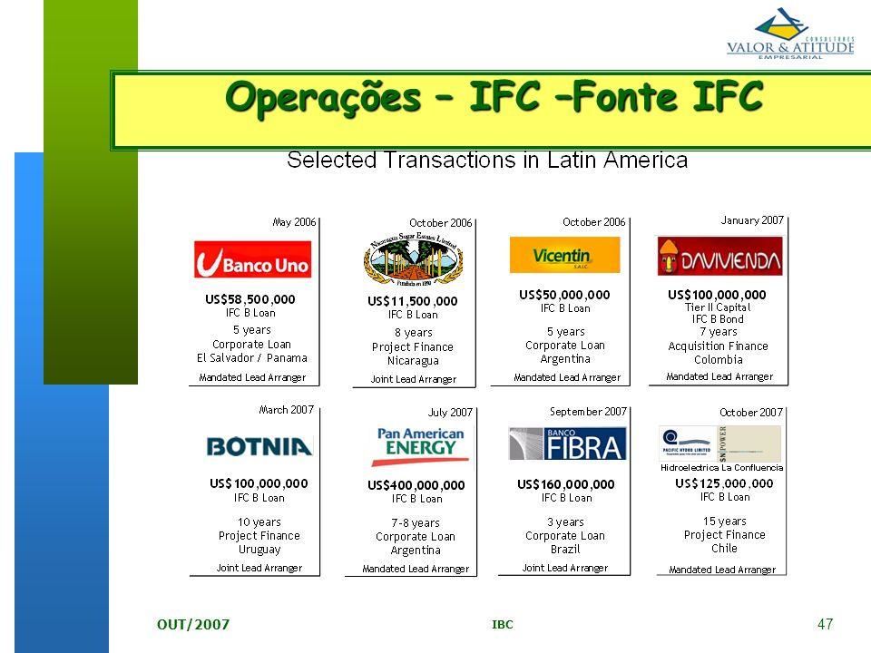 47 IBC OUT/2007 Operações – IFC –Fonte IFC