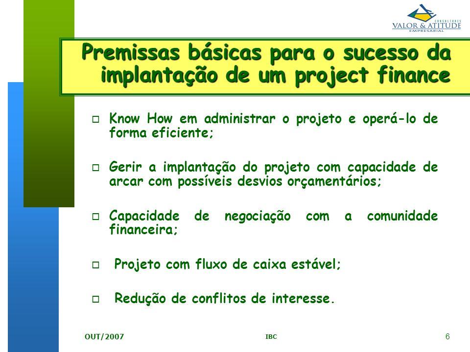 6 IBC OUT/2007 o Know How em administrar o projeto e operá-lo de forma eficiente; o Gerir a implantação do projeto com capacidade de arcar com possíve