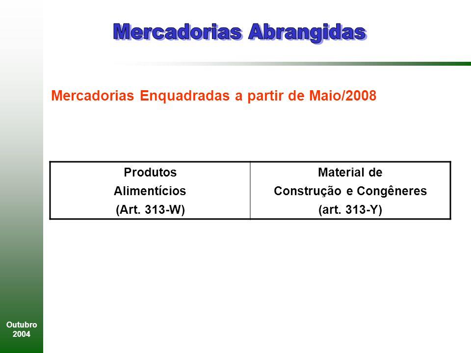 Outubro 2004 Produtos Alimentícios (Art.313-W) Material de Construção e Congêneres (art.