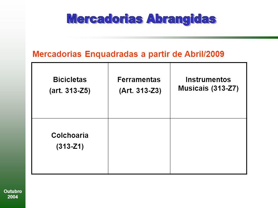 Outubro 2004 Mercadorias Enquadradas a partir de Abril/2009 Bicicletas (art.