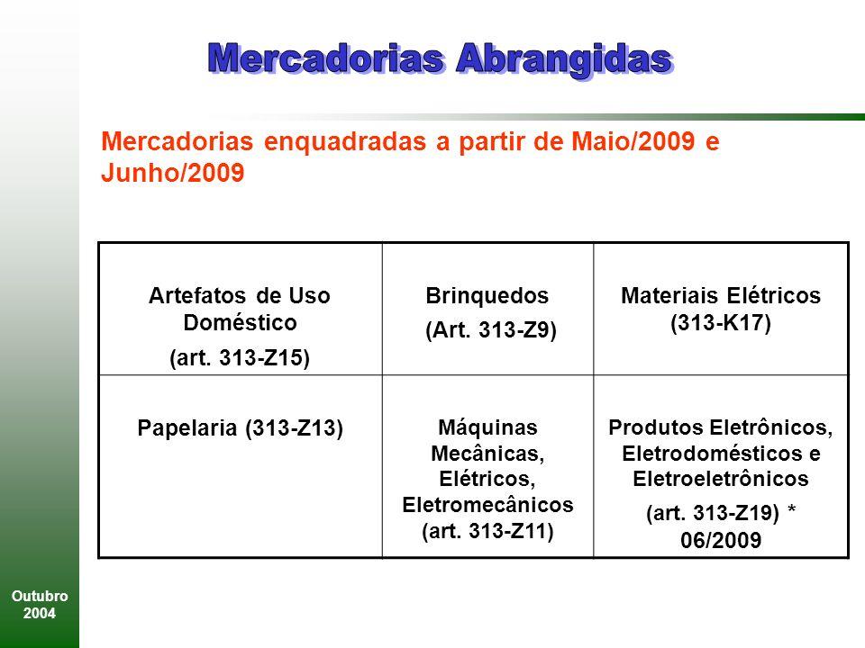 Outubro 2004 Artefatos de Uso Doméstico (art.313-Z15) Brinquedos (Art.
