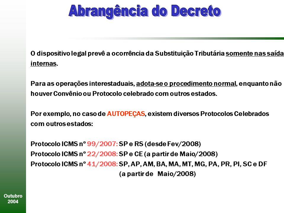 Outubro 2004 O dispositivo legal prevê a ocorrência da Substituição Tributária somente nas saídas internas.