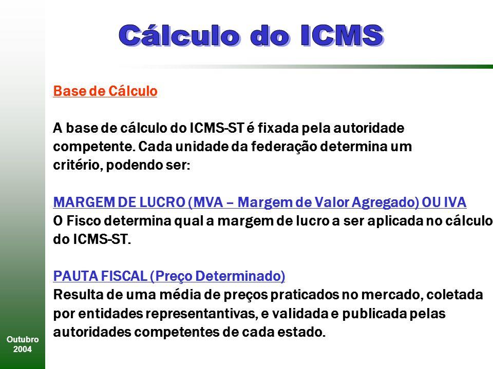 Outubro 2004 Base de Cálculo A base de cálculo do ICMS-ST é fixada pela autoridade competente.
