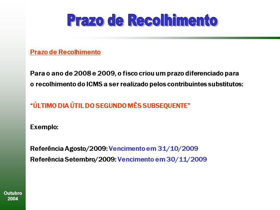Outubro 2004 Prazo de Recolhimento Para o ano de 2008 e 2009, o fisco criou um prazo diferenciado para o recolhimento do ICMS a ser realizado pelos contribuintes substitutos: ÚLTIMO DIA ÚTIL DO SEGUNDO MÊS SUBSEQUENTE Exemplo: Referência Agosto/2009: Vencimento em 31/10/2009 Referência Setembro/2009: Vencimento em 30/11/2009