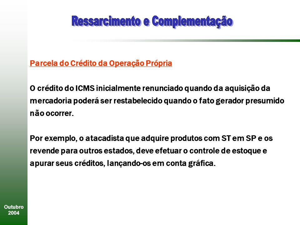 Outubro 2004 Parcela do Crédito da Operação Própria O crédito do ICMS inicialmente renunciado quando da aquisição da mercadoria poderá ser restabelecido quando o fato gerador presumido não ocorrer.