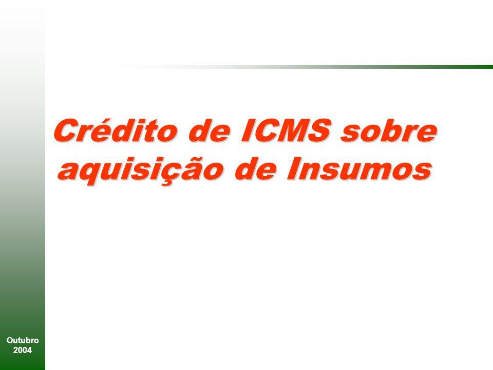 Outubro 2004 Crédito de ICMS sobre aquisição de Insumos