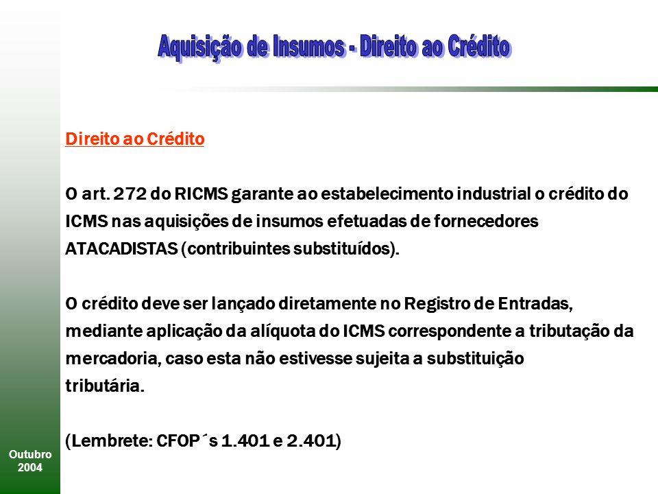Outubro 2004 Direito ao Crédito O art.