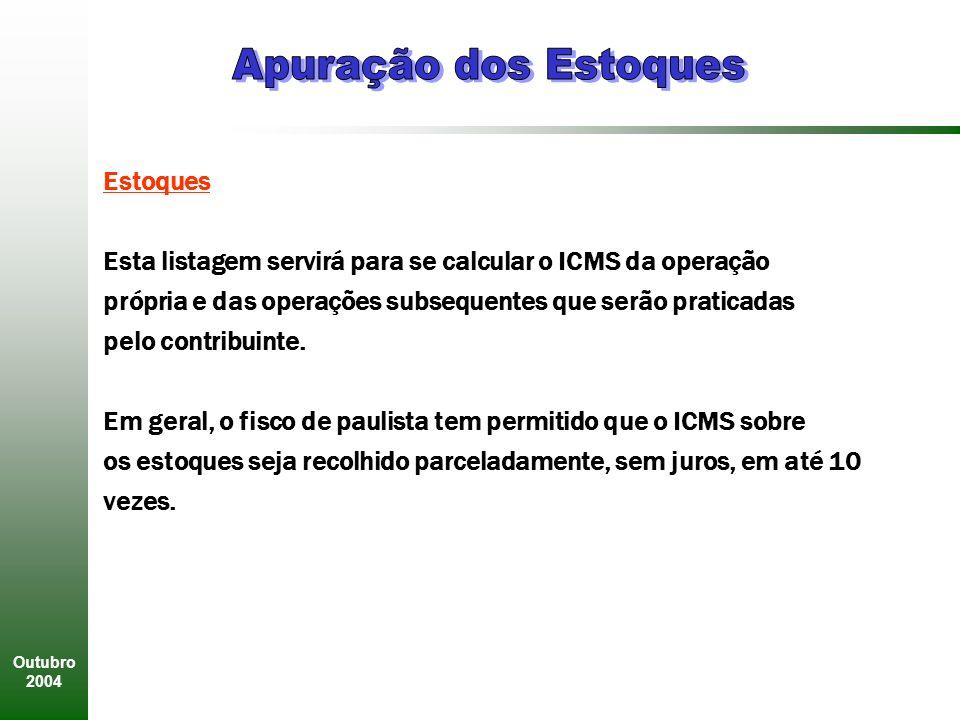 Outubro 2004 Estoques Esta listagem servirá para se calcular o ICMS da operação própria e das operações subsequentes que serão praticadas pelo contribuinte.