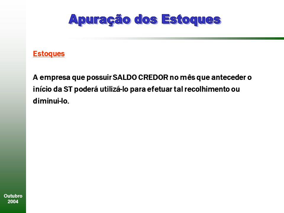 Outubro 2004 Estoques A empresa que possuir SALDO CREDOR no mês que anteceder o início da ST poderá utilizá-lo para efetuar tal recolhimento ou diminui-lo.