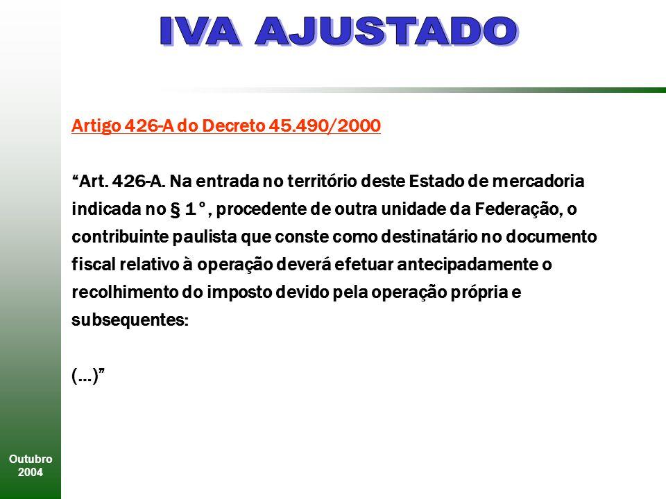 Outubro 2004 Artigo 426-A do Decreto 45.490/2000 Art.