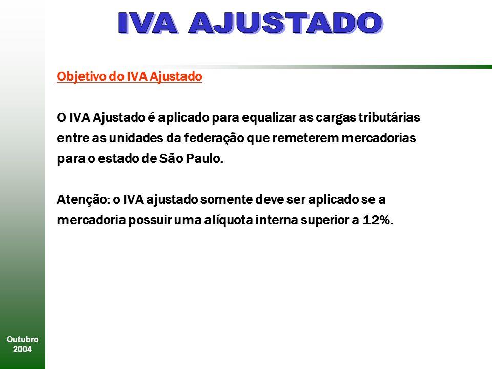 Outubro 2004 Objetivo do IVA Ajustado O IVA Ajustado é aplicado para equalizar as cargas tributárias entre as unidades da federação que remeterem mercadorias para o estado de São Paulo.
