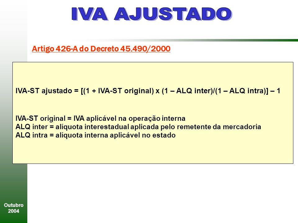 Outubro 2004 Artigo 426-A do Decreto 45.490/2000 IVA-ST ajustado = [(1 + IVA-ST original) x (1 – ALQ inter)/(1 – ALQ intra)] – 1 IVA-ST original = IVA aplicável na operação interna ALQ inter = alíquota interestadual aplicada pelo remetente da mercadoria ALQ intra = alíquota interna aplicável no estado