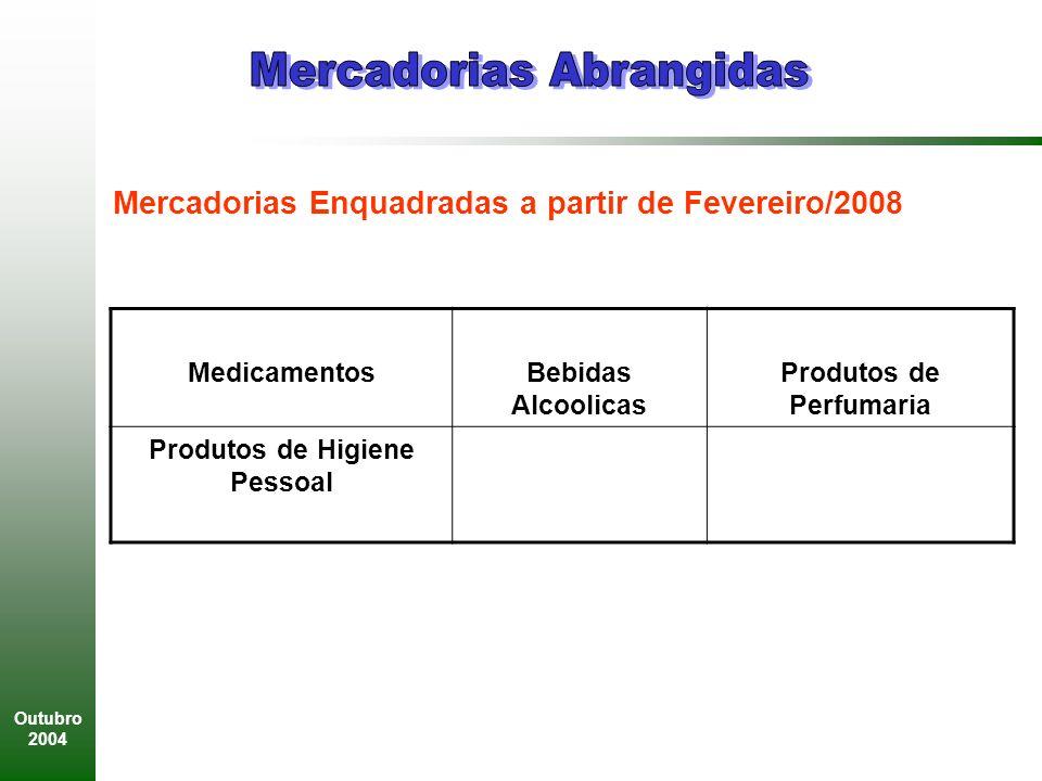 Outubro 2004 MedicamentosBebidas Alcoolicas Produtos de Perfumaria Produtos de Higiene Pessoal Mercadorias Enquadradas a partir de Fevereiro/2008